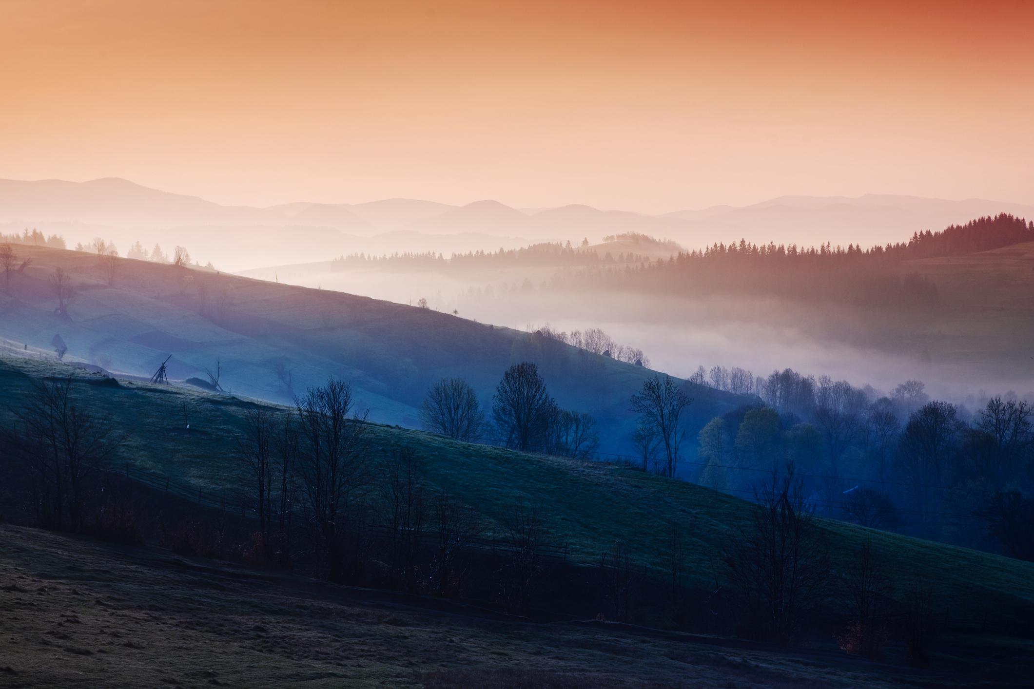 Mountains in morning fog